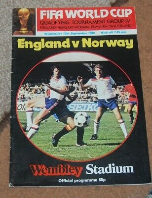 Fifa World Cup England V Norway Programme 1980