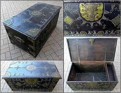 19th Century Sinhalese Sri Lanka Teak & Brass Antique Traders Trunk Dowry Chest