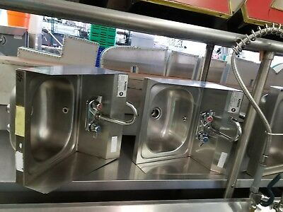 Restaurant stainless steel hands sink with splash guard