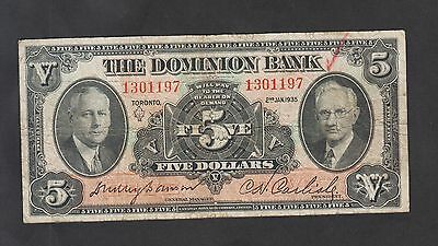 1935 The Dominion Bank 5 Dollars Bill Canada   220-26-02