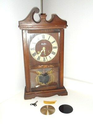 WORKING Antique CARILLON Clock 31 DAY w/ KEY Fancy SCROLL Carved Wood TOP