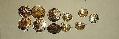 US Army Corps of Engineer Dress Jacket Buttons, 4 Recent, 1 WWI, 1 WWII, 5 Small