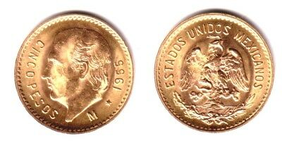 Mexico Gold 5 Pesos GEM BU--renown as one of best small gold coins sold--stellar