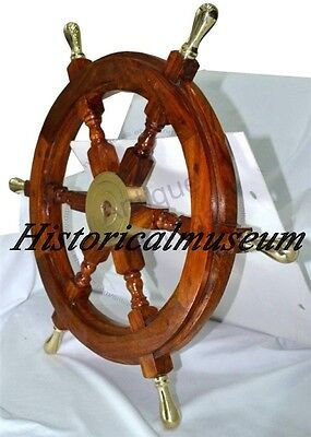 "24"" Ship Wheel Solid Cherry Wood Brass HM419 Nautical Wall Decor Boat antique"