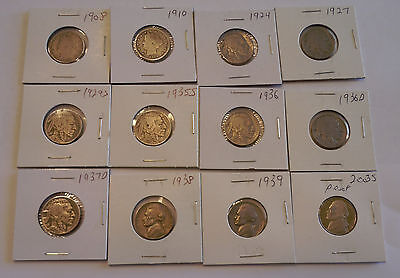 Mixed Set of 12 Liberty Head, Buffalo, Jefferson Nickels.  5 Are Pre-1930