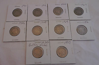 Mixed Set of 10 Circulated Liberty Head and Buffalo Nickels. Majority Pre-30's