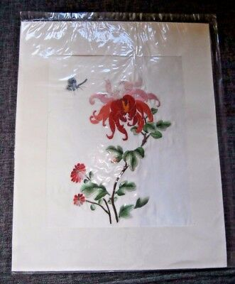 "CHINESE HAND WORKED EMBROIDERED SILK PANEL/PICTURE~12"" x 9 1/2""~CHRYSANTHEMUM"