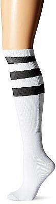 MUSIC LEGS Womens Acrylic Knee Hi with Striped Top, White/Black, One Size
