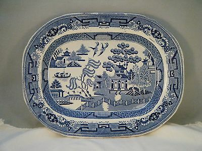 Antique Blue Willow Platter 100+ Years Old