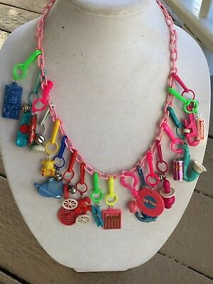 Vintage New 80's Plastic Charm Necklace Retro Party 1980  18 Charms