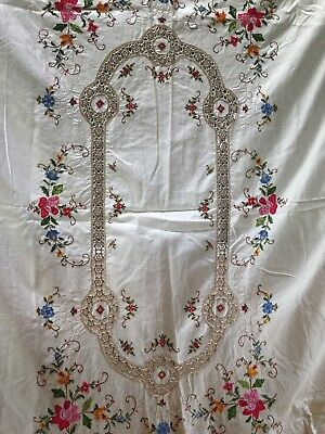 "Vtg Tablecloth Cut Oblong Stitch Embroidery Crochet Linen Rectangle 62"" x 46"""