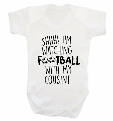 Watching football cousin baby vest team sport fan footballer game player 4093