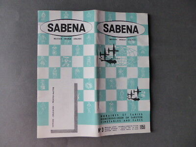 Sabena - Horaires Et Tarifs - Timetables And Fares - N°3 - 1956