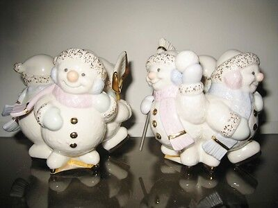 Pair New Lenox Snowlight Skating By Candlelight Votives