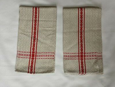 Lot 2 LINEN DAMASK Cream with Red Stripe TEA TOWELS