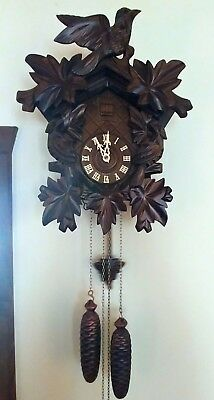 German Black Forest 8 Day Cuckoo Wall Clock In Excellent Condition
