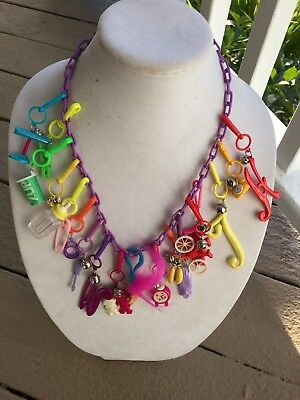 Vintage New 80's Plastic Bell Charm Necklace 18 Charms Retro Clip On Party 1980