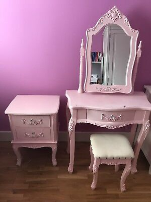 Girls Pink Dressing Table Set With Stall And Chest Of Drawers Shabby Chic Style