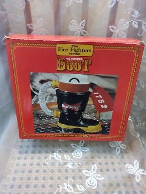 Budweiser Beer Boot Stein Salutes Fire Fighters 1st in Series 1997, NEW IN BOX