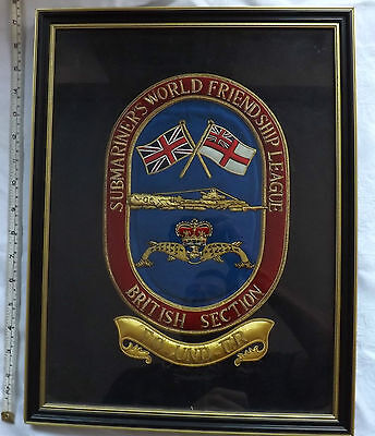Military Embroidered Royal Navy Dolphin Submariner World Friendship Plaque (2350