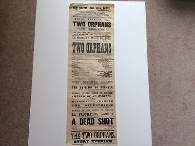 Theatre Poster, New Theatre Royal, Bristol. 1875. (Two Orphans,)