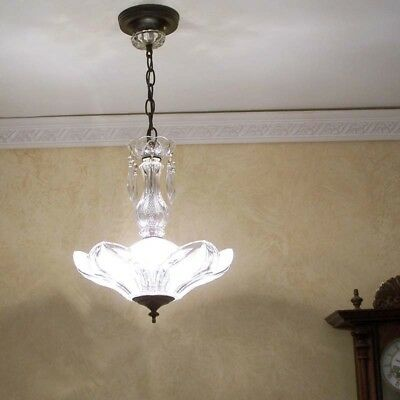 239b old Vintage LOTUS FLOWER Ceiling Light Lamp Fixture Glass Chandelier 1 of 2