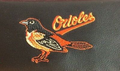 MLB Baltimore Orioles Black Leather Checkbook Officially Licensed Embroidered