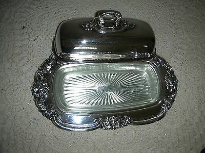 VINTAGE   GORHAM  SILVERPLATE  BUTTER DISH  with GLASS LINER