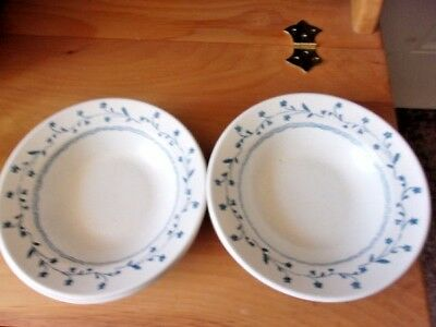 "Americana Country Charm Blue Floral Rim Bowls (7) 6-3/4"" Wide Royal China"
