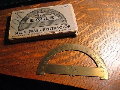 Solid Brass Protractor - Vintage Eagle Pencil Company Drafting Tool USA w/ Box