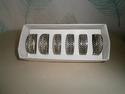 Vintage  Silver Plated Napkin Rings, Set of 6 Boxed from Florantal England