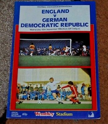 Fa International England V German Democratc Republic 1984 Programme