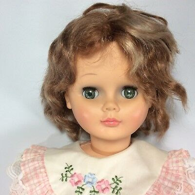 """Regal Canada Child Doll 30"""" Tall Walker Plastic Sleepy Eyes Rooted Hair Pat Pend"""