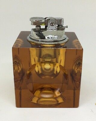Vintage Colonial Cube Square Amber Removable Table Lighter Ashtray Retro 1960