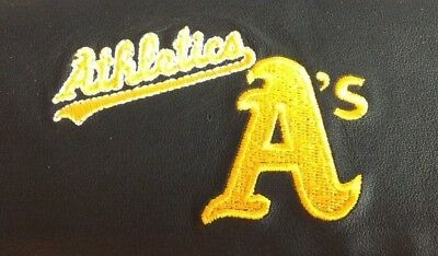 MLB Oakland Athletics Black Leather Checkbook Officially Licensed Embroidered