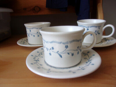 Americana Country Charm Blue Floral 3 Cup & Saucer Sets Wide Royal China
