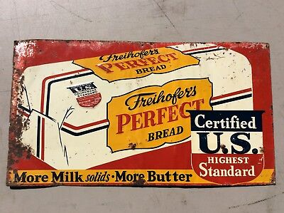 Vintage 1940s Freihofer Bread US Government Advertising Sign country store
