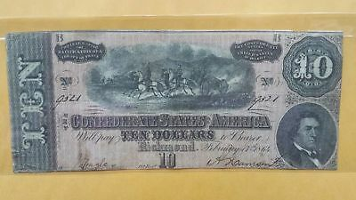 1864 Confederate States America Currency $10 CSA Money