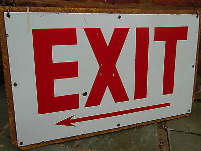 Vintage Large Factory Industrial Mill 'EXIT' Enamel Sign on Backing Board