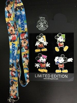 Disney Lanyard + 4Pin Complete Starter Set Mickey LE Limited Edition New