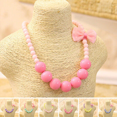 New Fashion Hot Bowknot Beads Jewelry Girls Necklace Round Children Pretty Candy