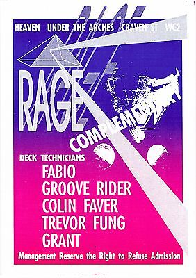 RAGE Rave Flyer Flyers A5 25/10/90 Heaven London WC2 Rare Complimentary Pass