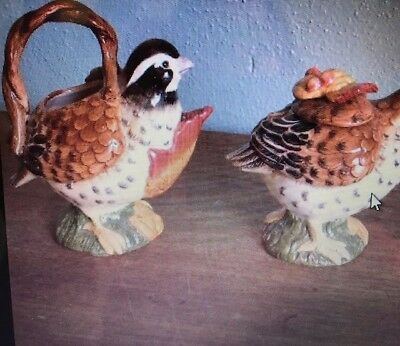 Fitz And Floyd Huntington Quail Covered Sugar And Creamer New in Box