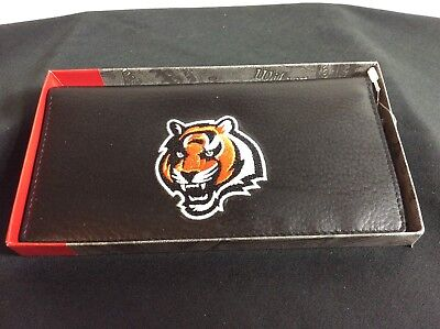 NFL Cincinatti Bengals Black Leather Checkbook Officially Licensed Embroidered