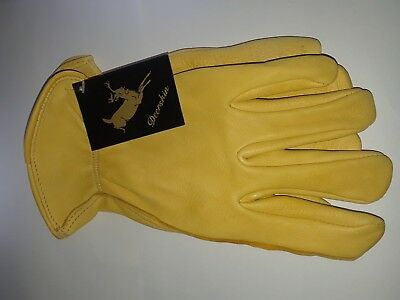 Luxury Deer Skin leather Gloves Natural Unlined Men's SIZE {M}