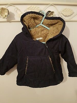 Baby Boden boys side zip navy winter coat with teddy bear lining. 12-18 months