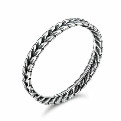 Authentic 925 Sterling Silver Ear of Wheat Women Wide Band Ring Size 6-8 NEW