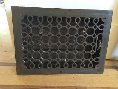 Antique Victorian Floor Register Grate w/ Louvers and Trim Plate