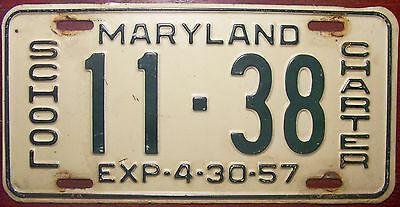 1957 Maryland Charter School Bus License Plate Auto Tag Tourism Tour Excursion