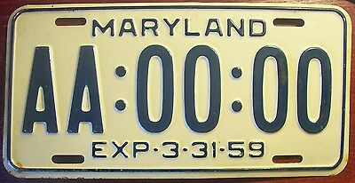1959 Maryland Sample All Zeros License Plate Auto Tag Aa-00-00 Md 3-31-59 Nice